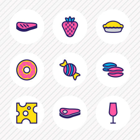 Vector illustration of 9 food icons colored line. Editable set of drink glass, steak, cheese and other icon elements.