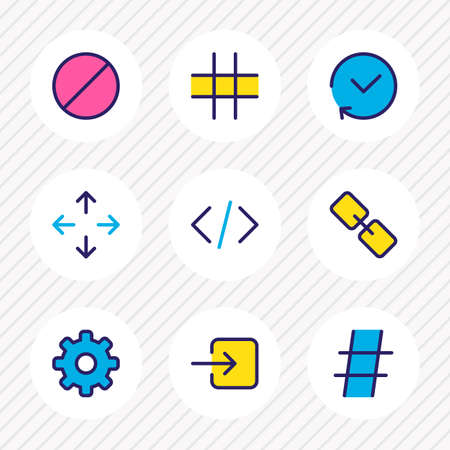 Vector illustration of 9 annex icons colored line. Editable set of link, hashtag, cog and other icon elements.