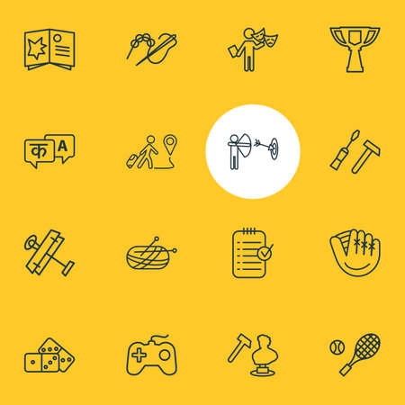illustration of 16 entertainment icons line style. Editable set of aeromodeling, sculpting, beading and other icon elements.