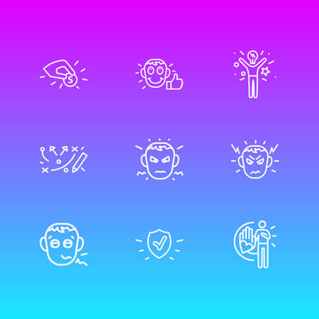 illustration of 9 emoji icons line style. Editable set of trust, annoyed, strategy and other icon elements.