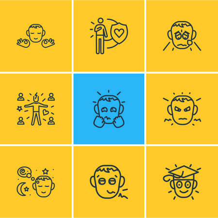 Vector illustration of 9 emoji icons line style. Editable set of attract people, anxious, learning and other icon elements. Иллюстрация