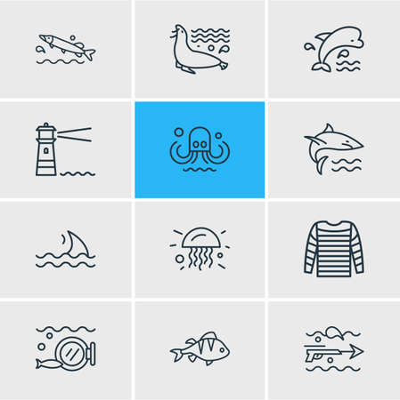 Vector illustration of 12 sea icons line style. Editable set of perch, mammal, stripped vest and other icon elements.