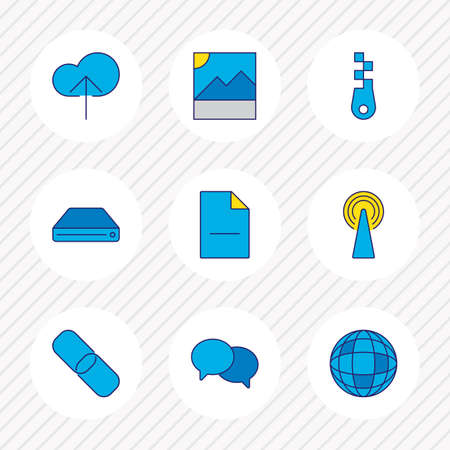 Vector illustration of 9 internet icons colored line. Editable set of globe, router, hard drive and other icon elements.