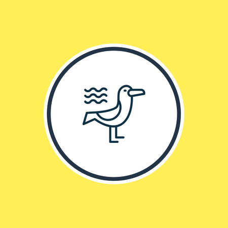 Vector illustration of seagull icon line. Beautiful sea element also can be used as bird icon element.