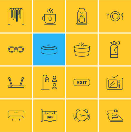 Vector illustration of 16 hotel icons line style. Editable set of tea cup, sauna, fire extinguisher and other icon elements.