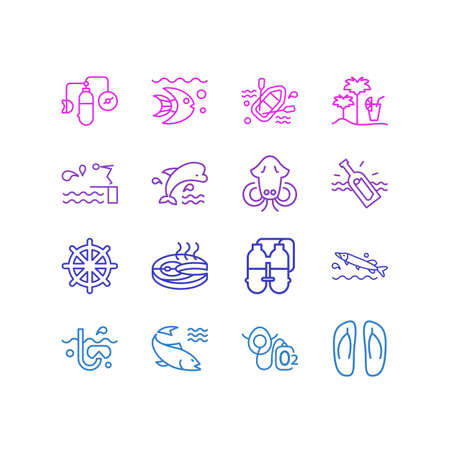 Vector illustration of 16 maritime icons line style. Editable set of twin tank, ship rudder, cuttlefish and other icon elements.