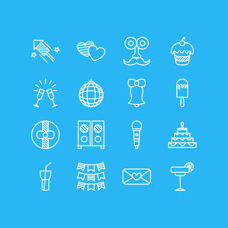 Vector illustration of 16 banquet icons line style. Editable set of loudspeaker, microphone, wineglasses and other icon elements.