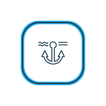 Vector illustration of anchor icon line. Beautiful nautical element also can be used as naval icon element. 向量圖像