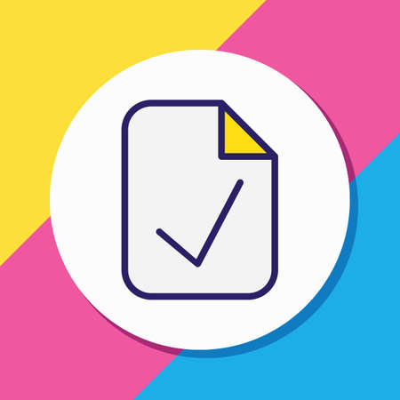 Vector illustration of approve document icon colored line. Beautiful office element also can be used as checked file icon element.