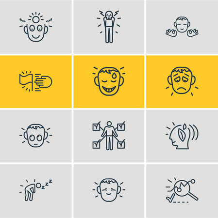 illustration of 12 emoji icons line style. Editable set of shy, calm person, think positive and other icon elements. Stock Photo