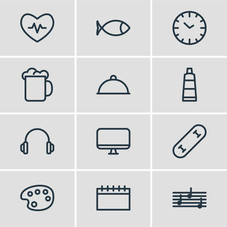 illustration of 12 lifestyle icons line style. Editable set of calendar, fish, melody and other icon elements.