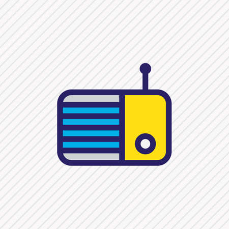 illustration of radio icon colored line. Beautiful music element also can be used as fm icon element. Imagens