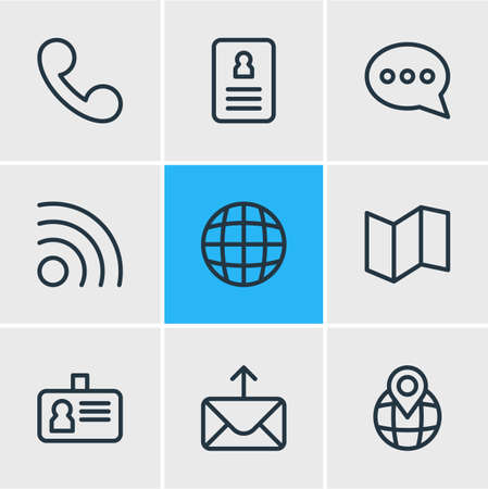 illustration of 9 community icons line style. Editable set of cv, pinpoint, letter and other icon elements. Banco de Imagens