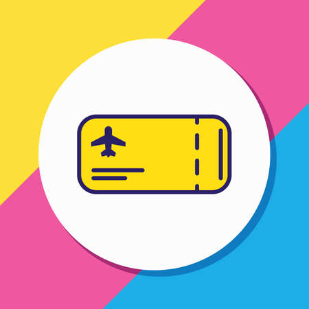 illustration of flight ticket icon colored line. Beautiful vacation element also can be used as airplane pass icon element.