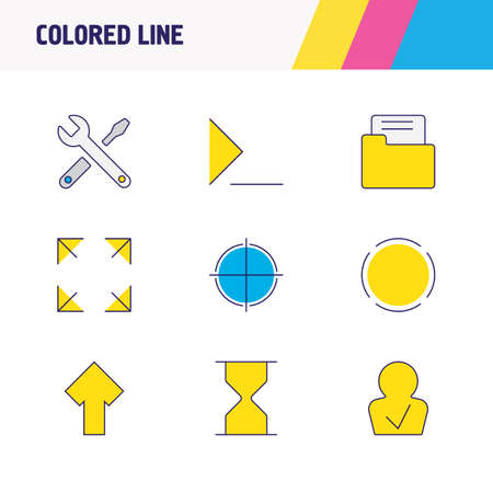 illustration of 9 UI icons colored line. Editable set of repair, command line, sand clock icon elements.