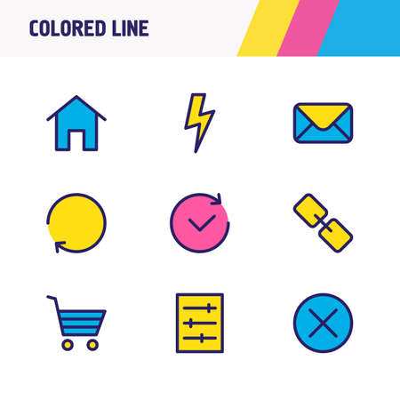 illustration of 9 application icons colored line. Editable set of mail, setting, bolt and other icon elements. Banco de Imagens