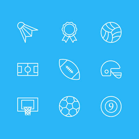 illustration of 9 athletic icons line style. Editable set of hoop, football, racer hat and other icon elements.