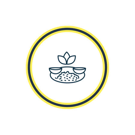 Vector illustration of indian rice with curry icon line. Beautiful world cuisine element also can be used as masala icon element.