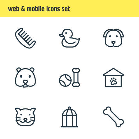 illustration of 9 animal icons line style. Editable set of duck, comb, cat and other icon elements.
