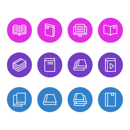 illustration of 12 read icons line style. Editable set of novel, information, bookstore and other icon elements.