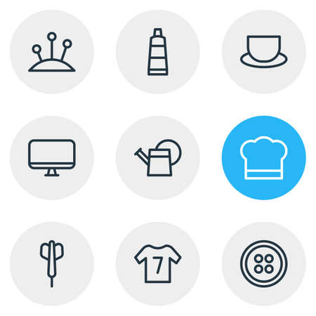 illustration of 9 lifestyle icons line style. Editable set of monitor, dart, tea and other icon elements. 免版税图像