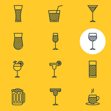 Vector illustration of 12 drinks icons line style. Editable set of drink, juice, cappuccino and other icon elements. Illustration