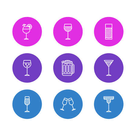Vector illustration of 9 drinks icons line style. Editable set of cocktail, alcohol, beer and other icon elements.