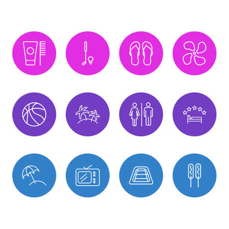 Vector illustration of 12 travel icons line style. Editable set of fan, tv, flip flops and other icon elements.