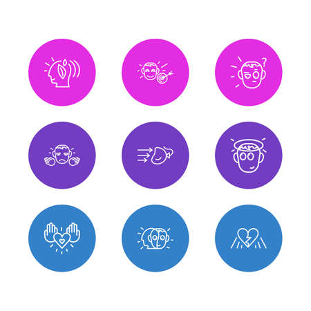 Vector illustration of 9 emoticon icons line style. Editable set of alter ego, impact, charity and other icon elements.
