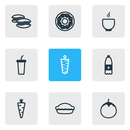 Vector illustration of 9 food icons line style. Editable set of pie, drink bottle, soup and other icon elements. Illustration