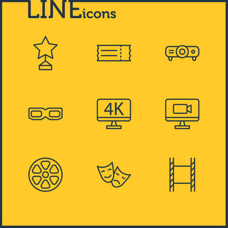 Vector illustration of 9 cinema icons line style. Editable set of monitor, 4k tv, comedy and other icon elements.