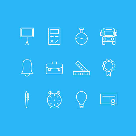 illustration of 12 studies icons line style. Editable set of blackboard, pen, rulers and other icon elements.