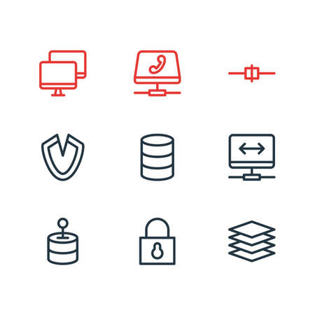 illustration of 9 internet icons line style. Editable set of connected, stack, hosting and other icon elements.