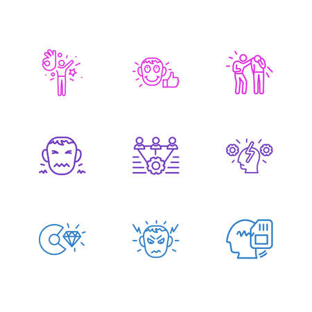 illustration of 9 emotions icons line style. Editable set of teamwork, core values, memory and other icon elements. Stock Photo