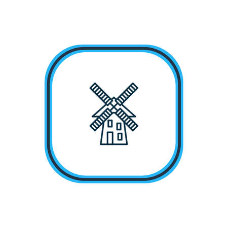 illustration of windmill icon line. Beautiful world landmarks element also can be used as mill icon element.