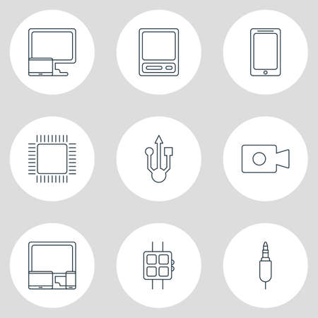 Vector illustration of 9 notebook icons line style. Editable set of video device, devices, smartwatch and other icon elements.