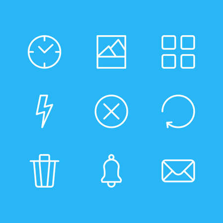 Vector illustration of 9 app icons line style. Editable set of trash can, close, thumbnails and other icon elements.