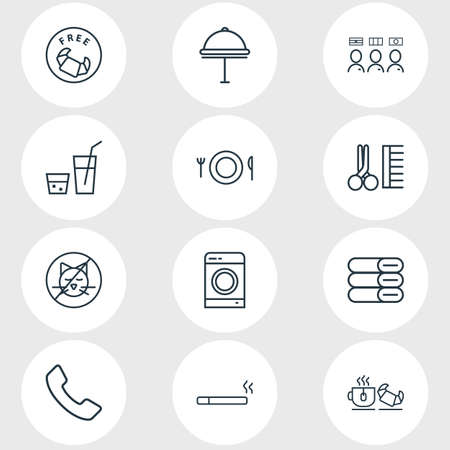 illustration of 12 tourism icons line style. Editable set of meal, hotel delivery, free breakfast and other icon elements. Stock Photo