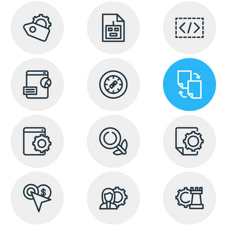Vector illustration of 12 advertising icons line style. Editable set of pay per click, organic search, SEO tag and other icon elements. Illustration