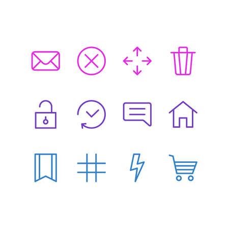 illustration of 12 annex icons line style. Editable set of mail, home, comment and other icon elements.