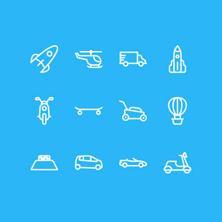 illustration of 12 vehicle icons line style. Editable set of air balloon, helicopter, rocket and other icon elements.