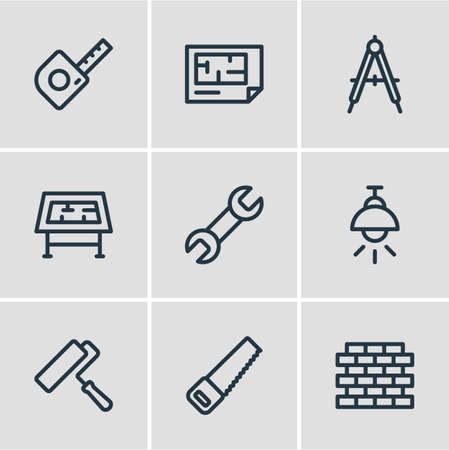 illustration of 9 construction icons line style. Editable set of painting, saw, drawing table and other icon elements.