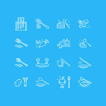 illustration of 16 utensil icons line style. Editable set of pastry bag, bread knife, fruit fork and other icon elements.