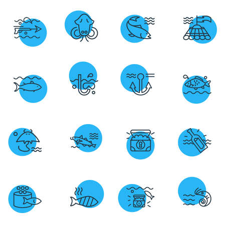 illustration of 16 sea icons line style. Editable set of cuttlefish, stingray, grilled fish and other icon elements.