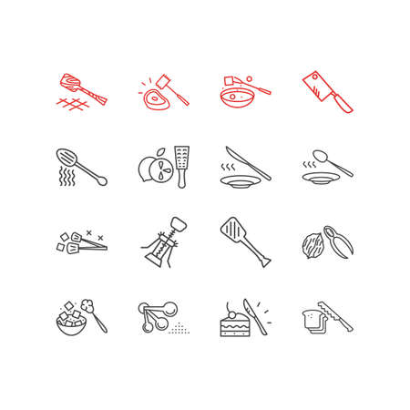 illustration of 16 kitchenware icons line style. Editable set of chopping knife, nutcracker, dinner spoon and other icon elements.