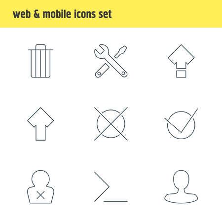 Vector illustration of 9 UI icons line style. Editable set of command line, shift, check icon elements.