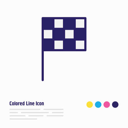 illustration of finish flag icon colored line. Beautiful athletic element also can be used as pennant icon element.