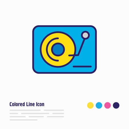 illustration of djing icon colored line. Beautiful lifestyle element also can be used as vinyl icon element.