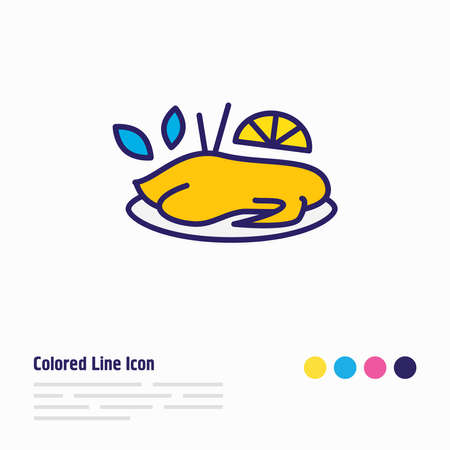 illustration of chinese peking duck icon colored line. Beautiful international food element also can be used as chicken icon element. Stock Photo