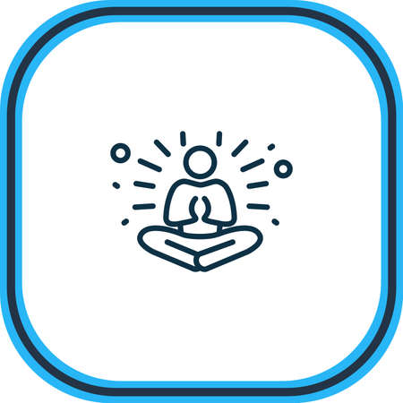 illustration of meditation icon line. Beautiful emoji element also can be used as yoga icon element.